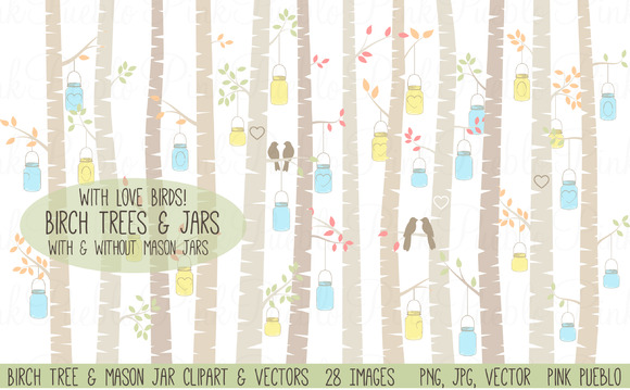 Birch Trees And Mason Jars