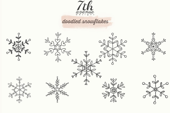 Doodled Snowflakes