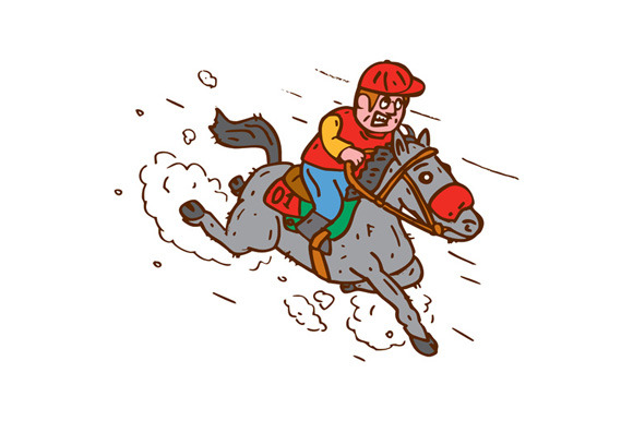 Jockey Horse Racing Cartoon