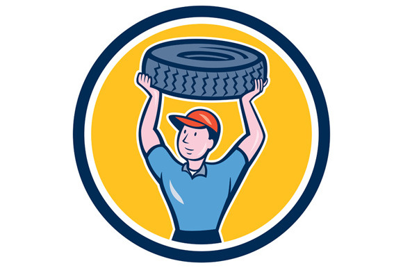 Tireman Mechanic With Tire Cartoon C