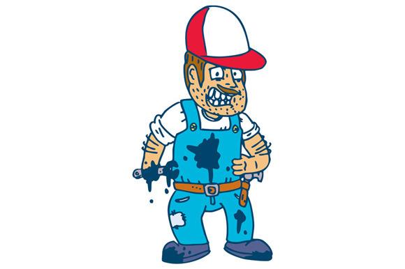 Mechanic Hold Spanner Wrench Cartoon