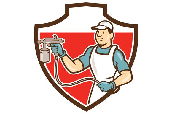 Painter Spray Gun Spraying Shield Ca