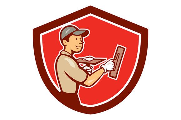 Plasterer Masonry Worker Shield Cart