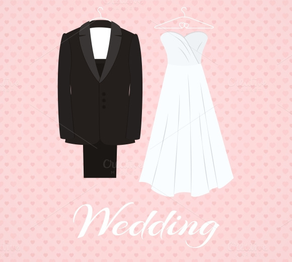 Suit Beside Wedding Dress