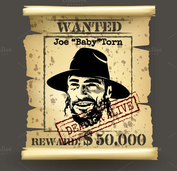 Wild West Style Wanted Poster