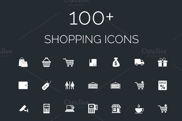 100 Shopping Vector Icons Pack