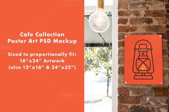 Cafe Poster Art PSD Mockup