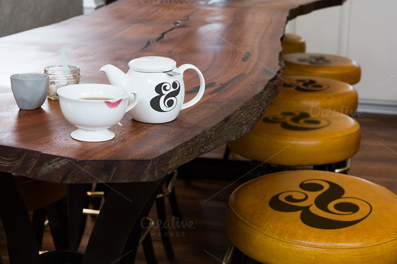 Cafe Tea Kettle Stools PSD Mockup