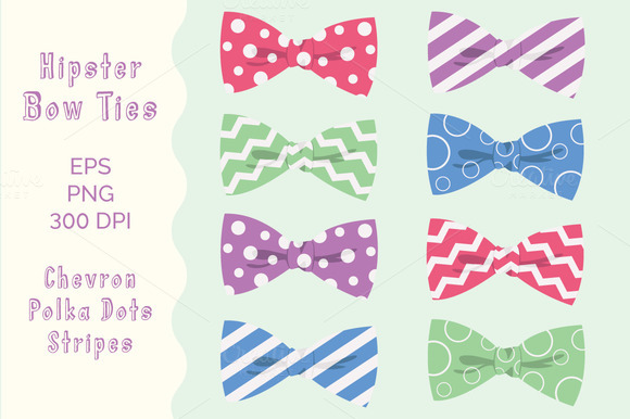 Digital Bow Ties Clipart Hipster