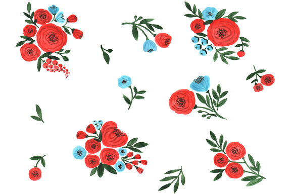Watercolor Red Flowers Clipart