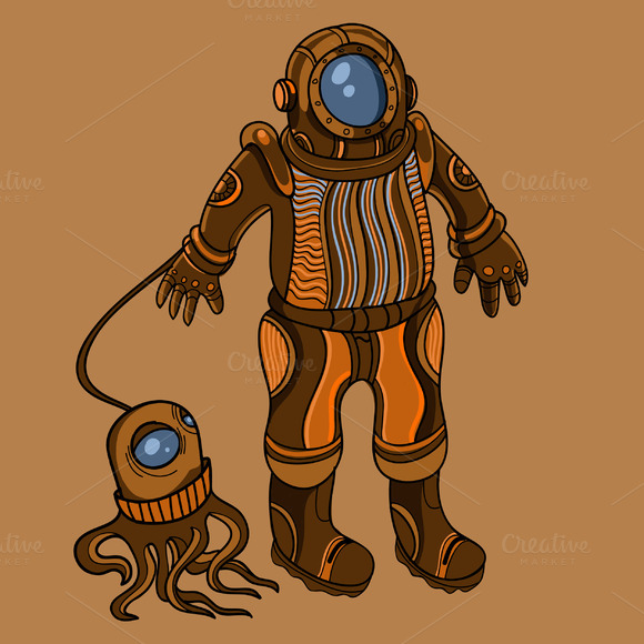 Steampunk Diver In Vector