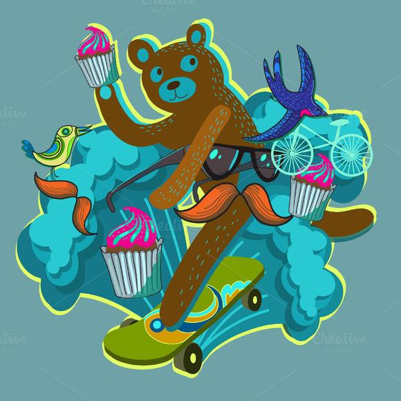 Hipster Bear In Vector