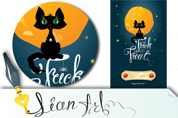 Halloween Night Cat On Moon And Sky