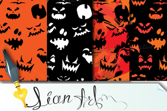 Set Of 4 Halloween Seamless Patterns