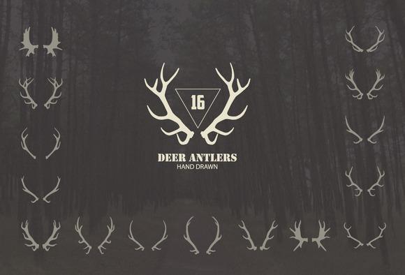 16 Deer Antlers Vector