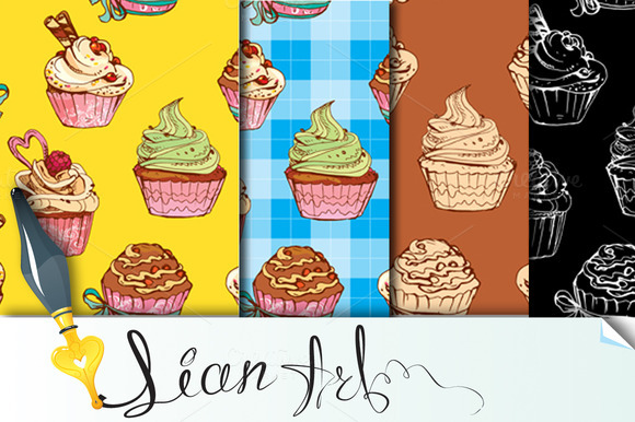 Seamless Patterns With Cupcakes
