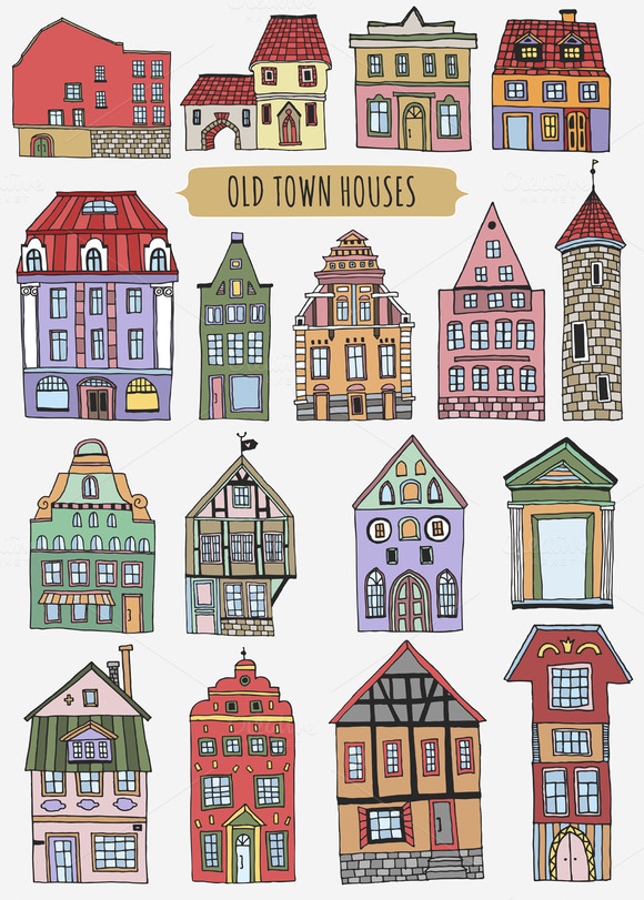 Old Town Houses Pattern