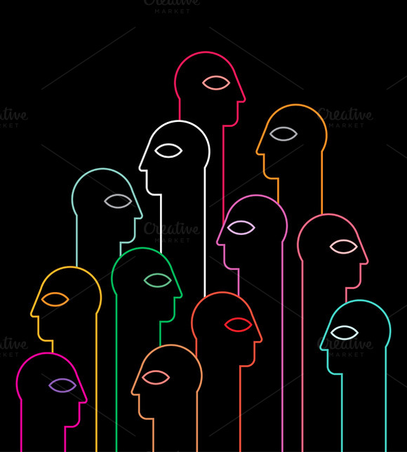 People Neon Silhouettes