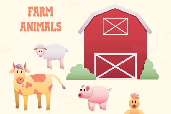 Farm Animals Scene Clipart Elements