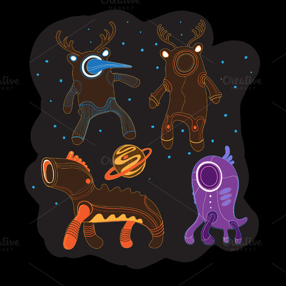 Ethnic Aliens Set In Vector