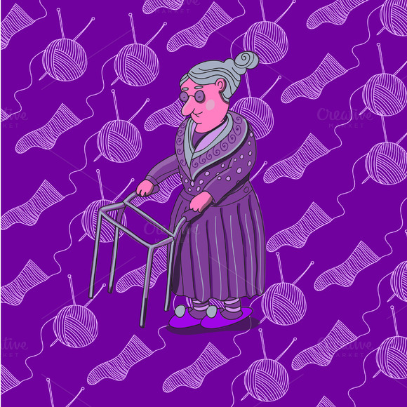 Old Lady Pattern In Vector