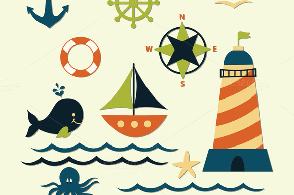Nautical Sea Clipart Elements