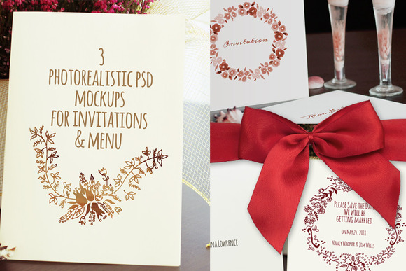 3 Photorealistic Invitations Mockup