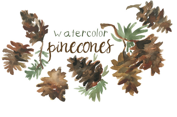 Watercolor Pinecones Clip Art