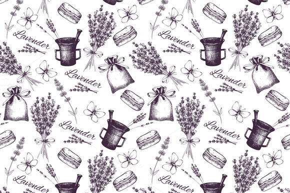 Vector Pattern With Lavender Sketch