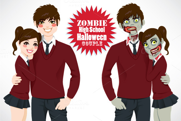 Zombie High School Halloween Couple