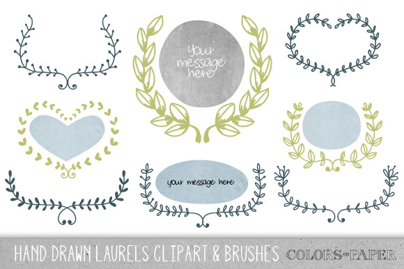Hand Drawn Laurels Clipart Bruoshe