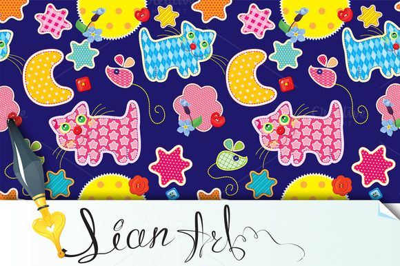 Seamless Pattern Cat Mouse Stars