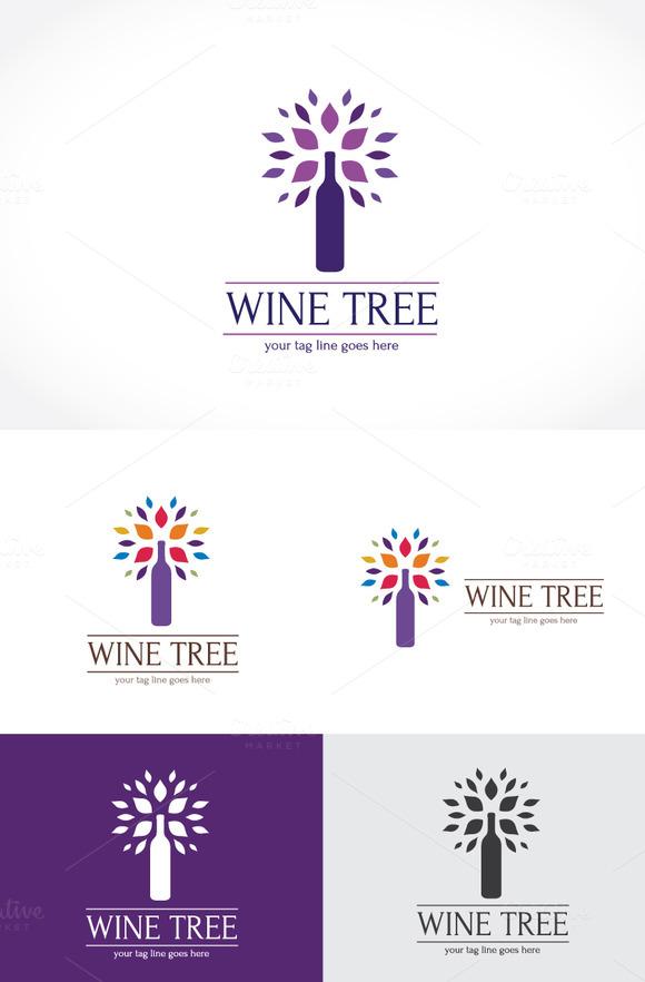 Wine Tree Logo Template