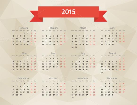 Flat Style 2015 Year Vector Calendar