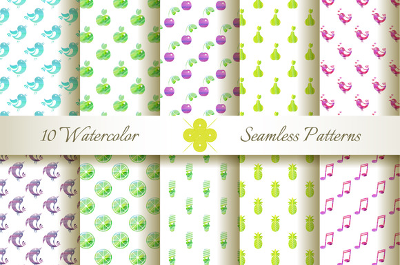 10 Seamless Watercolor Patterns