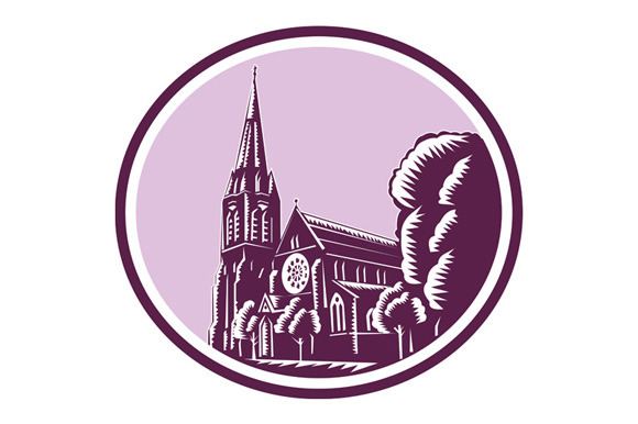 Christchurch Cathedral Woodcut Retro