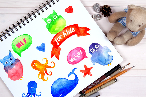 Watercolor Characters For Kids