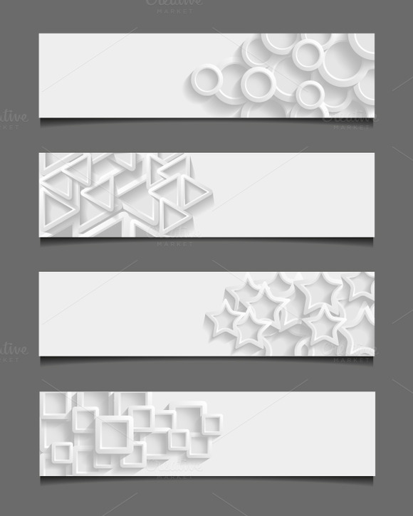 Set Of Abstract Geometric Banners