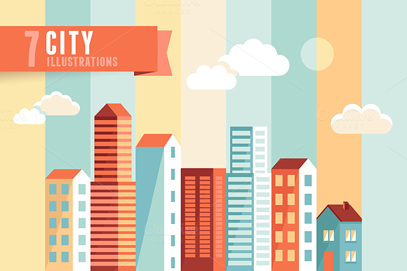 7 Flat City Illustrations