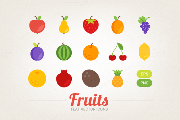 Flat Fruits Icons