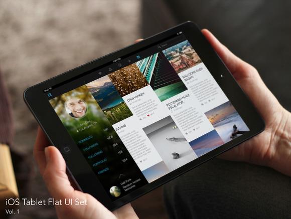 IOS Tablet Flat UI Set Vol 1