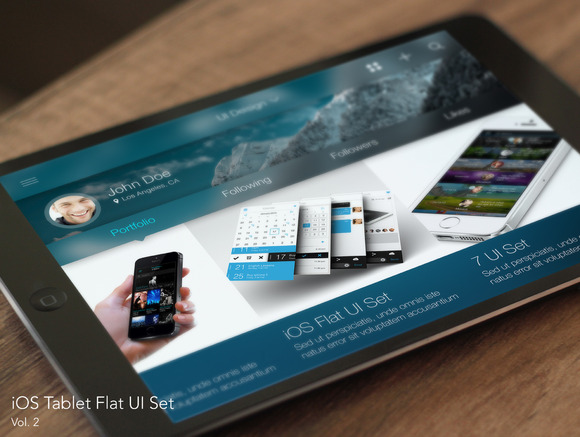 IOS Tablet Flat Pad UI Set Vol 2