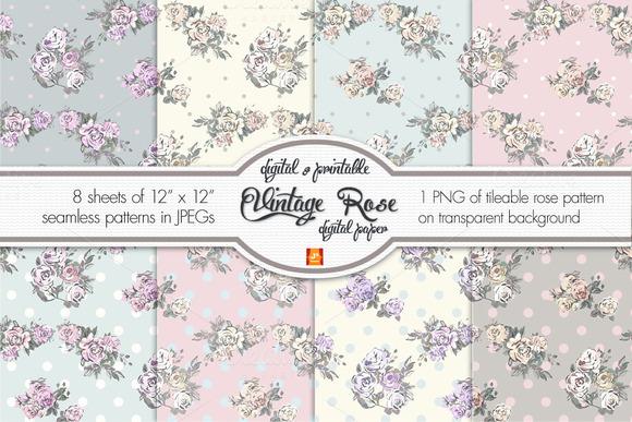 Rose And Polka Dots Digital Paper