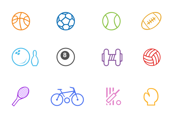 Sports Game Line Icons