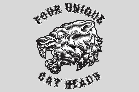 Four Unique Cat Heads
