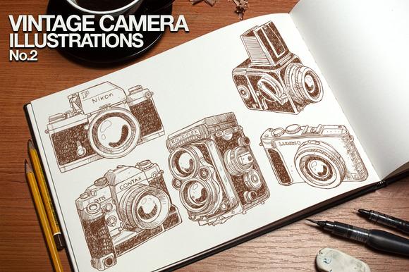 Vintage Camera Illustrations No.2