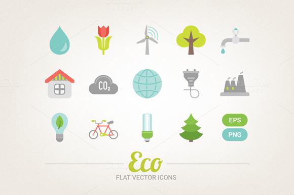 Flat Ecological Icons