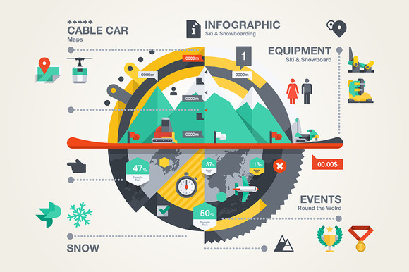 Ski Snowboarding Infographic
