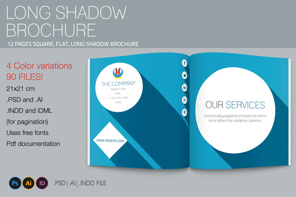 Long Shadow Square Brochure Template