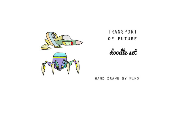 Transport Of Future Doodle Set